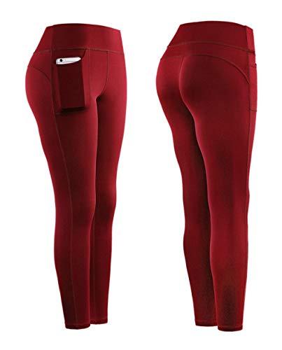 B/H CapriDeportivosconCordónparaRunning,Leggingsqueabsorbenlahumedad,pantalonesdeportivosdeyogaparalevantarlacaderaycontraerlacintura-Red_XL,MujerCompressionLeggings
