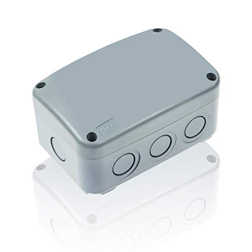 Nineleaf 1PK Outdoor Junction Box ABS Plastic Dustproof IP66 Waterproof Universal Electrical Boxes Project Enclosure Grey 4 7 8  3 1 4  2 1 4  inch (125x86x62mm) fit 20mm Cable Gland for Outdoor Use