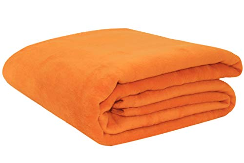 ZOLLNER Wolldecke orange 150 x 200 cm, Baumwollmix, viele Farben, Größen