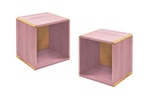 BioKinder 24712 set van 2 wandlegborden hangende plank kubussen massief hout grenen 35 x 32 x 35 cm lila beglaasd