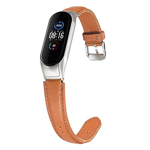 Correa de cuero genuino para Xiaomi mi band 5 bandas de reloj Correa para mi band 5 pulsera de repuesto accesorios de cuero real