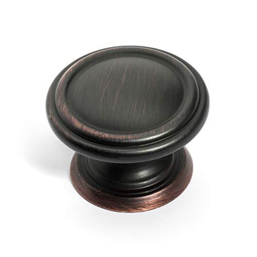 Dynasty Hardware K-8038-S-12P Two Ring Cabinet Hardware Knob, Venetian Bronze (25 Pack)