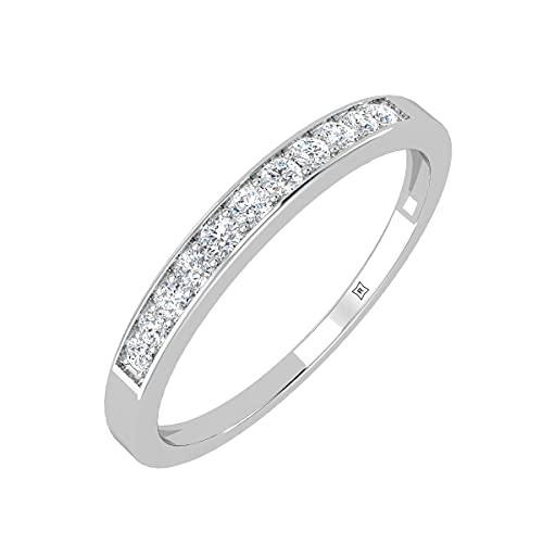 Rikhava Diamonds Solitario, compromiso, anillo de bodas para mujer, joyería con oro blanco de 10 K, anillo certificado IGI de 0,12 quilates -55