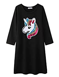 Long Sleeve Black Cotton Unicorn T-Shirt Dress