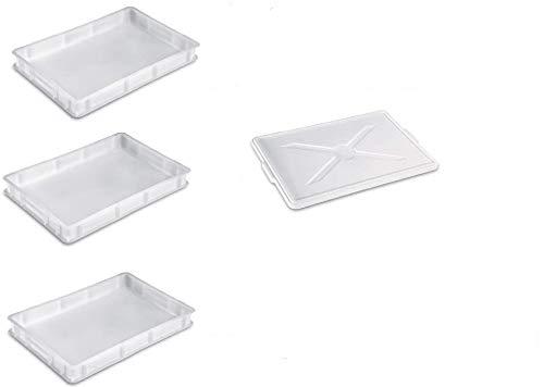 Gigantplast - Trio de Cajas Apilables Para Fermentadora de Masas - Cajones de Plastico de Almacenaje - Para Pan Y Pizza - 1 Tapa Incluida - 30x40x10