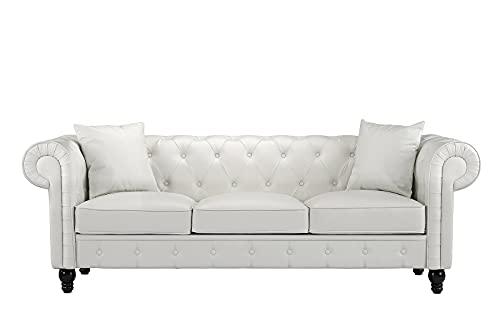 BHDesign Lina - Sofá Chesterfield de 3 plazas, piel sintética, color blanco