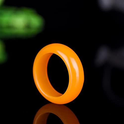 YZDKJ Natürliche gelbe Jade Ringe Echt Stein Jade Ring Jadeite Jade Für Männer Ringe Für Frauen Nickel Frauen Jade Schmuck (Ring Size : 7.5)