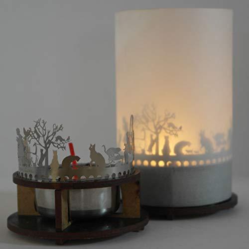 13gramm Katzen Windlicht Schattenspiel Premium Geschenk-Box, inkl. Kerzenhalter, Kerze, Projektionsschirm und Teelicht