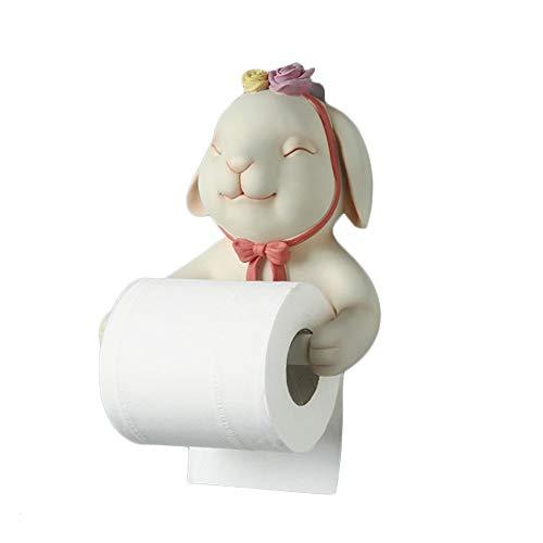 ZLSP Papel de los Animales de Toallas de baño Lindo Creativo del Rollo de Papel higiénico Estante Colgante del Papel higiénico del sostenedor del Estante de Papel de Cocina (Color : Rabbit)