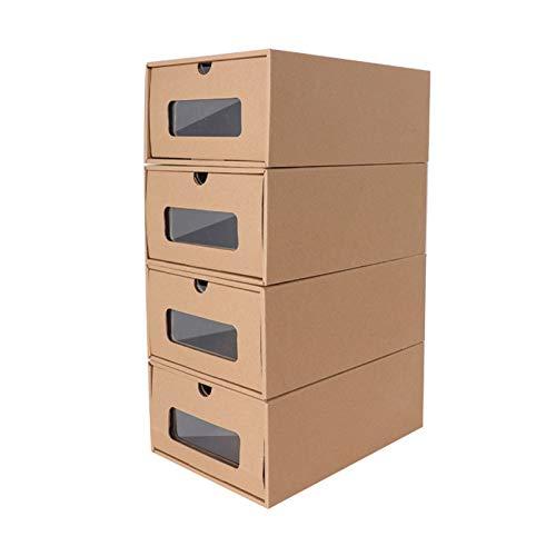 Xgxyklo Caja De Zapatos De 4 Paquetes, Organizador De Zapatos De Cartón Impermeable, Cajas De Almacenamiento Estables Apilables con Ventana Transparente,35×24×14cm