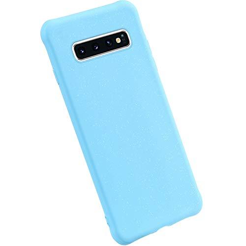 Ysimee Silikon Hülle kompatibel mit Samsung Galaxy S10, Einfarbig Handyhülle Kratzfeste Hülle rutschfeste Schutzhülle Stoßfestes Bumper Schutz vor Scratch Handyschale - Blau