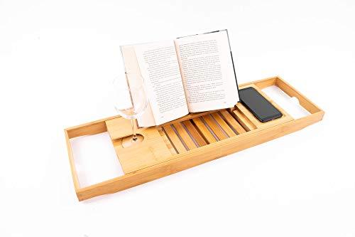 EMAKO Badewannenablage Badewannenbrett Bambus Ausziehbar 70-105 cm