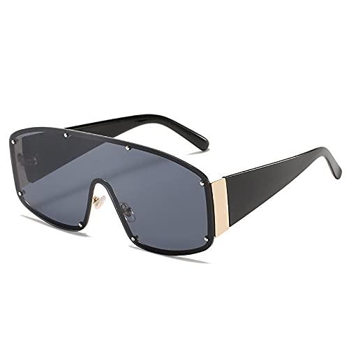 HAOMAO Gafas de sol graduadas de espejo cuadradas de gran tamaño sin montura para mujeres y hombres Uv400 gafas con remaches tonos gris
