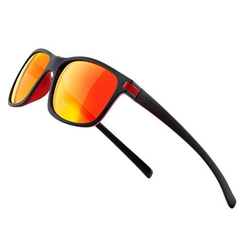 SUNGAIT Gafas de Sol Polarizadas Cuadradas Clásicas Retro/Aire Libre Deportes 100% Protección UVA Gafas para Hombres Mujeres -Marco Negro Rojo / Lente Naranja