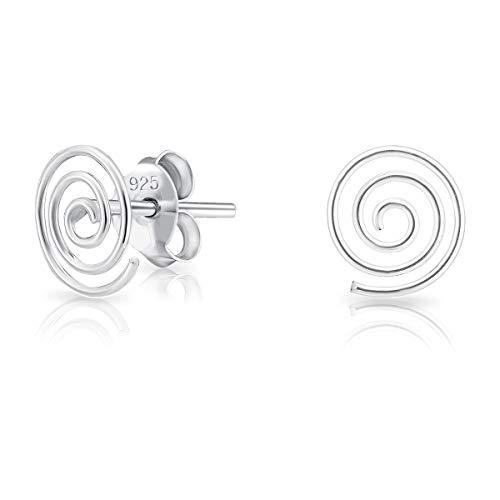 DTPsilver Orecchini a Perno/Pressione PICCOLI - Argento 925 - Forma di Spirale - Dimensioni: 7 x 8 mm
