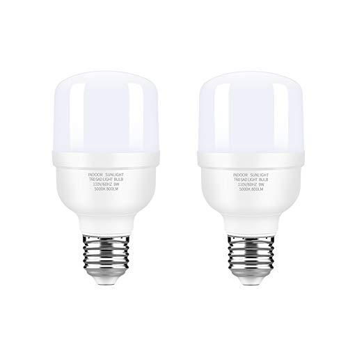Hisoo 9W LED Full Spectrum Light Bulb Light Therapy Lamp Bulb High CRI Cool White Natural Sunlight Bulb Eye-Care Dimmable Light Lamp Happy Light for Study Office Bedroom Living Room (2pack)