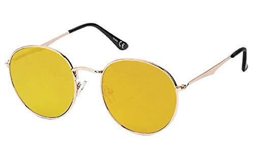 Chic-Net gafas de sol gafas de aviador Panto Ronda 400 web espejo UV doblados largo de color amarillo