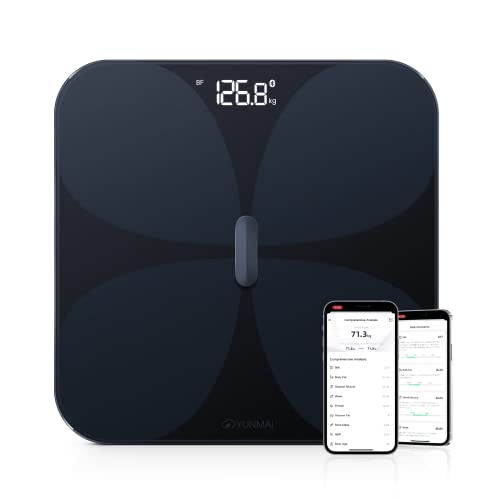 YUNMAI Pro Bilancia Pesapersone Digitale, Bilance Intelligenti Bluetooth con Archiviazione Offline Misurazione Integrata con 13 Indici di Massa Grassa, BMI, Massa Muscolare, Proteine 180kg, Nero