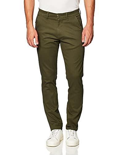 Southpole Men's Flex Stretch Basic Long Chino Pants, Olive (New), 34X32