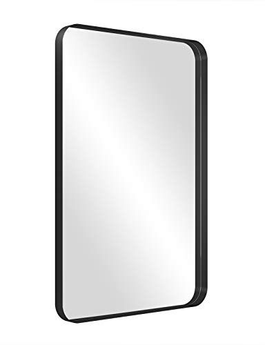 NXHOME Rectangle Metal Frame Wall Mirror for Bathroom 18 x 28 Inch Wall Mounted Vanity Mirror Rounded Corner Black Frame Decorative Mirrors for Bedroom Living Room