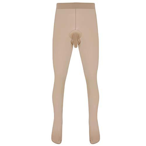 Freebily Herren Strumpfhose Tights Leggings mit Penishülle Pantyhose Männer Tansparent Lange Unterhose Sport Fitness Unterwäsche Hautfarbe A One Size