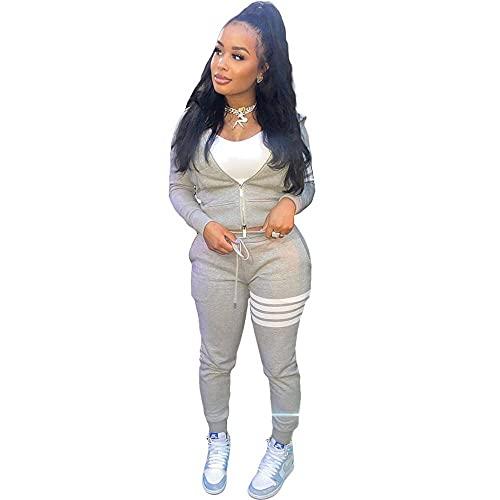 Conjunto de chándal de mujer 2 piezas Loungewear Sport Suit traje de rayas manga larga cremallera sudadera y pantalones Jogger gris