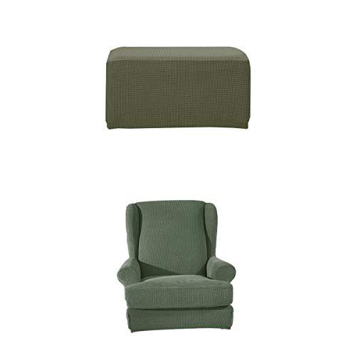 LOVIVER Stretch Ohrensessel Bezug Hocker Husse Set Fußbank Sitzhocker Stuhlhusse Stuhlüberzug - Grün