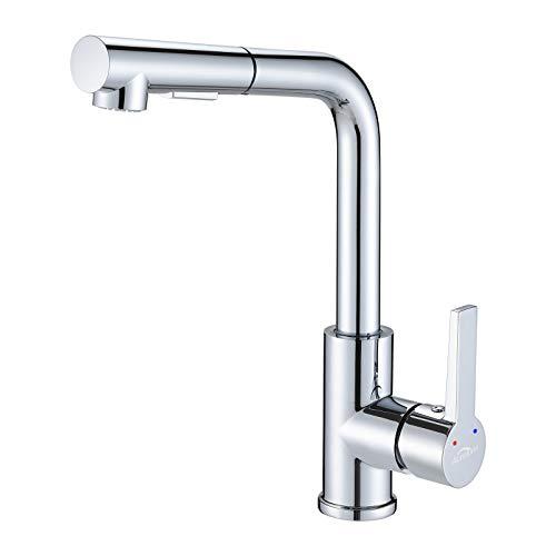 Auralum Küche Wasserhahn Küchenarmatur mit Ausziehbar Brause Spültischarmatur Hochdruck Mischbatterie 360° drehbare Armatur