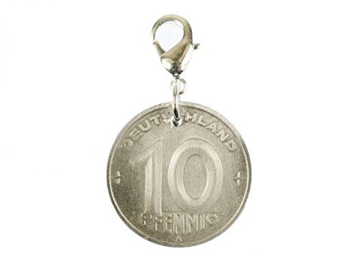 Miniblings 10 DDR Pfennig Charm Münze Geld Mauer alt - Handmade Modeschmuck I Kettenanhänger versilbert - Bettelanhänger Bettelarmband - Anhänger für Armband