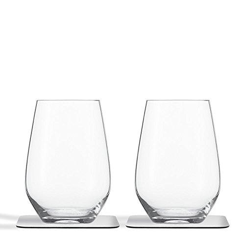 Silwy Kristall Longdrink-Magnetgläser mit Untersetzer 2er Set Becher Picknick Glas