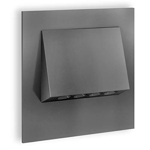 SSC-LUXon® LED Treppenleuchte NARVA (230V 1W) in Graphit – Spotlampe zum einfachen Einbau in Ø 60 mm Unterputzdose