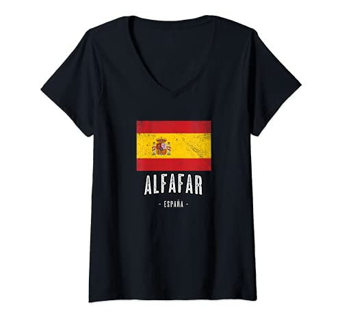 Donna Alfafar Spagna | ES Città Bandiera - Bandera - Maglietta con Collo a V