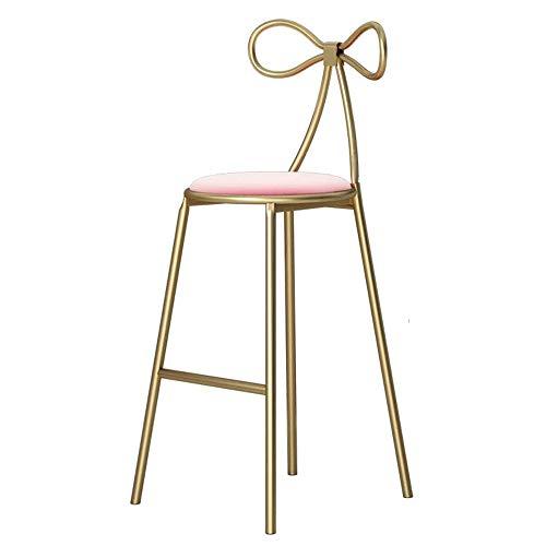 Taburete de Bar Alto Silla - Simplicidad nórdica de Alta Taburete de Barra, Soporte metálico Inicio Ocio Silla de Comedor, Rosa (Color : Pink)