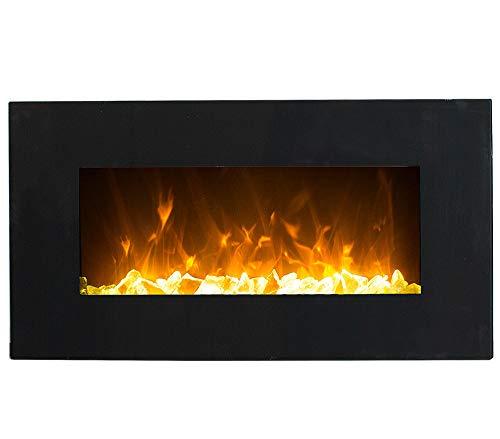 GLOW FIRE Neptun Elektrokamin mit Heizung, Wandkamin mit LED | Künstliches Feuer mit zuschaltbarem Heizlüfter: 750/1500 W | Fernbedienung, 84 cm, Schwarz, Kristalldekoration