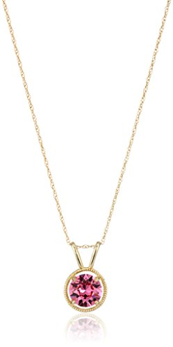 10K Gold Dainty Swarovski Elements Birthstone Pendant with Gold Filled Chain, October