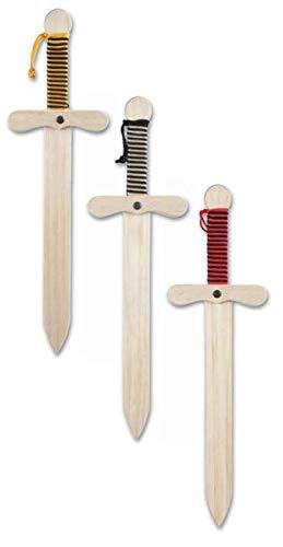 GERILEO Pack 3 Espadas de Caballero de Madera artesanales - Complemento para Juegos y Disfraces.
