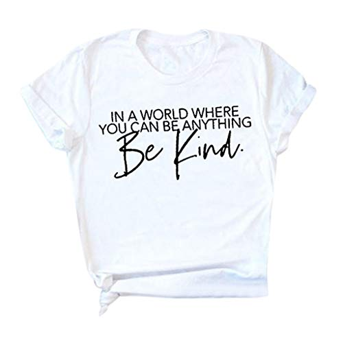 Purchase kaifongfu Short Sleeve Tee for Women Be Kind Letter Print T-Shirt Round Neck Shirt Blouse T...