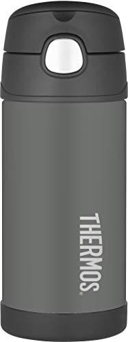 THERMOS 4030.701.035 Isolierflasche FunTainer, Edelstahl Grau 0,35 l, inkl. Trinkhalm, BPA-Free, 12 Stunden kalt