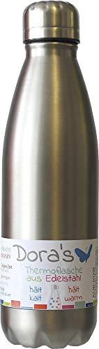 Dora's Trinkflasche Edelstahl Thermoflasche Farbe steel 750 ml