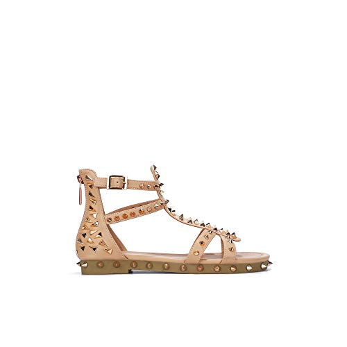 Cape Robbin Bobbi Gladiator Sandals for Women, Studded Womens Mules Slip On Shoes - Nude Size 7
