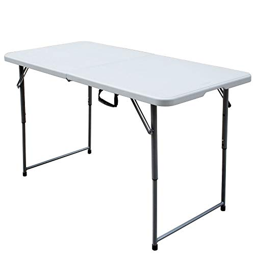 Plastic Development Group PDG-802 4 Foot Blow Molded Bi Foldable Utility Portable Garage Sale Event Dining Banquet Table with Carrying Handle, White