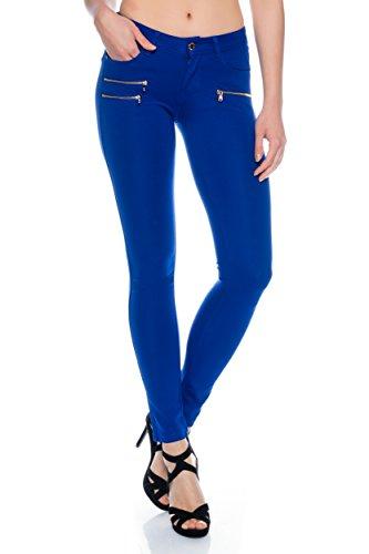 Freyday Tendance Pantalon Leggings Jeggings Hanches Confortable Stretch Coupe Slim - Bleu Roi - W40