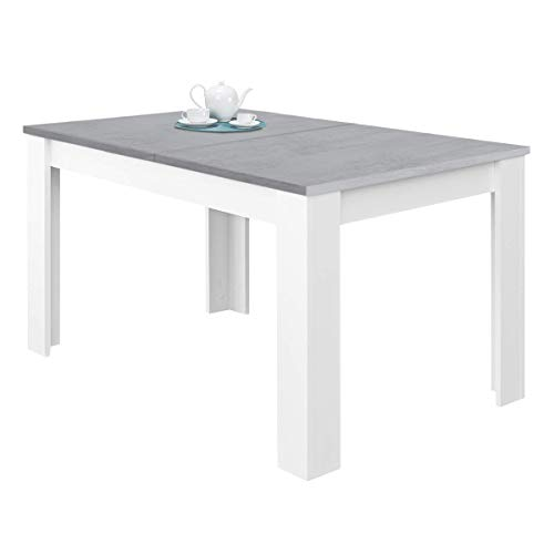 Habitdesign 0L4586A - Mesa de Comedor Extensible, Mesa salon o Cocina, Acabado en Color Blanco Artik y Gris Cemento, Modelo Kendra, Medidas: 140-190 cm (Largo) x 90 cm (Ancho) x 78 cm (Alto)