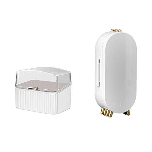 SODIAL Caja de Almacenamiento de Joyas Plegable + Caja de Almacenamiento de LáPiz Labial 4 Puertas Pendientes Soporte de ExhibicióN Pulsera Collar Organizador Blanco