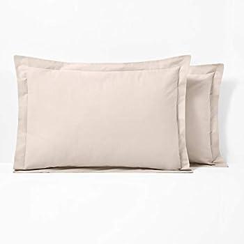 RoyalLinenCollection - Fundas de almohada (2 unidades, 100 % algodón egipcio, 400 hilos), color blanco, tela, crema, SuperKing {50cm x 90cm}: Amazon.es: Hogar