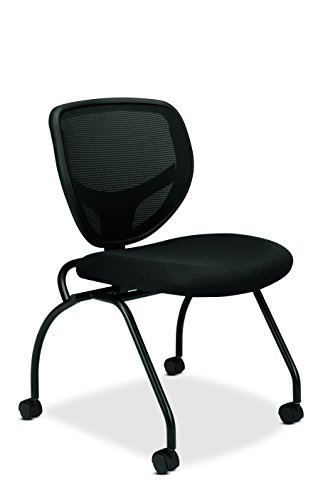HON Guest Chair - Mesh Stacking Chairs and Folding Chairs Office Furniture, Armless, Black, Set of 2 (VL302)