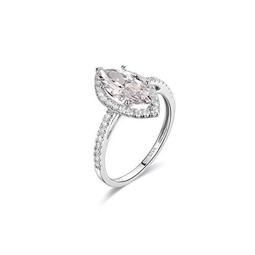 Aartoil Wedding Engagement Ring for Women 14k White Gold 6-Prong Marquise Shape Moissanite Size S 1/2