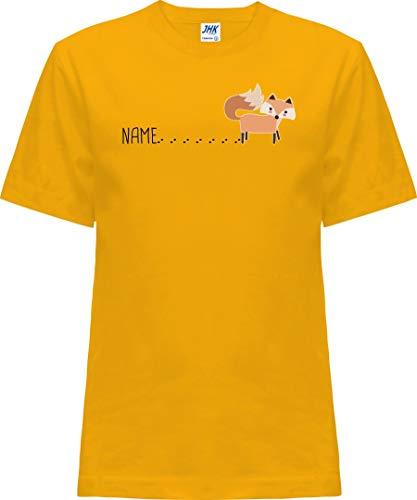 Kleckerliese Nicki T-shirt à manches courtes pour bébé et fille avec inscription en allemand « Tierfuchs mit Spur Name Fox » - Jaune - 0 ans