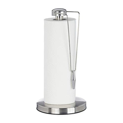 Relaxdays keukenrolhouder van roestvrij staal, design papierrolhouder staand, voor de keuken, HxD: 32 x 16 cm, zilver