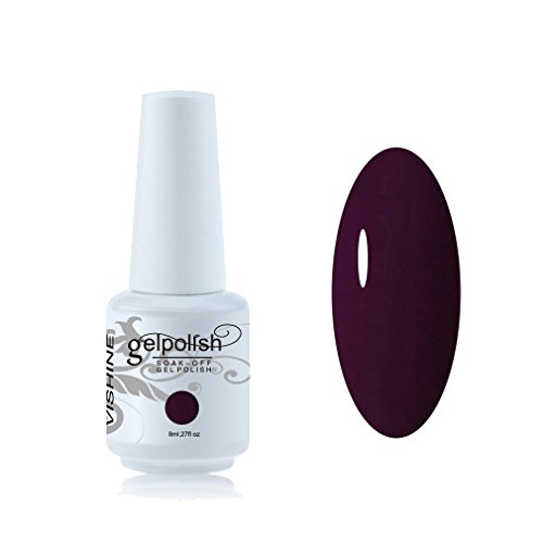 Vishine Vernis à ongles 8ml Semi-permanent GelPolish Soak-off UV LED Manucure Vernis Gels Prune #1417